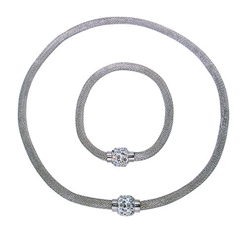 (Stainless Steel Mesh Necklace and Bracelet with Magnetic Clasp (Silver 1))