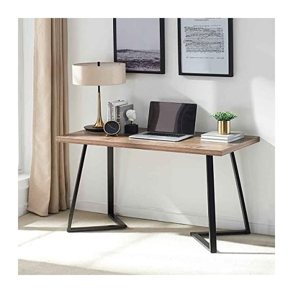UnaFurni Rustic Computer Desk, Vintage Industrial Simple Writing Desk, Metal and Wood Study Table for Home Office… -  - writing-desks, living-room-furniture, living-room - 41PamavDSjL. SS570  -