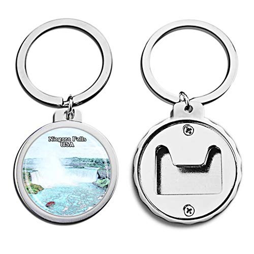 USA United States Bottle Opener Keychain Niagara Falls America Mini Bottle Cap Opener Keychain Creative Crayon Drawing Crystal Key Chain Travel Souvenirs Metal