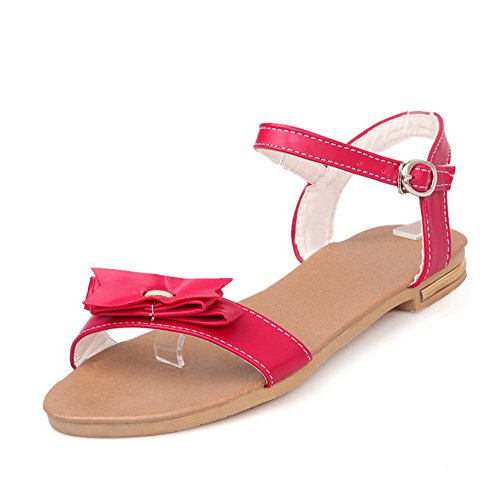 VogueZone009 Womens Open Toe Soft Material PU Solid Sandals with Bowknot and Thread Red Z2E5i5