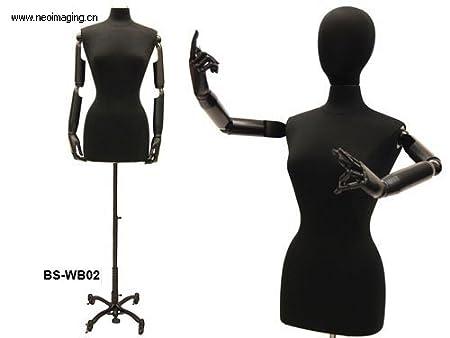 (JF-F6/8PU-BK-ARM+BS-02BKX) ROXYDISPLAY™ Display Female Body Form with arms & base Roxy Display Inc.
