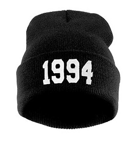 (URIBAKE ❤ Unisex Knitted Beanie Hats 1994 Woven Baggy Winter Warm Wool Ski Skull Slouchy Caps Hat Black)