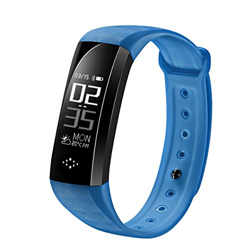 Fitness Trackes, M2S Waterproof Smart Bracelet Heart Rate Monitor Smart Band Pedometer Stop Watch Calorie Counter Sleep Tracker Blood Pressure Monitor w/ App for iOS and Android Cellphone-Blue