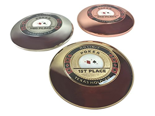 Set of 3 (1st, 2nd, 3rd) Poker Trophy Paperweights - Solid Metal!