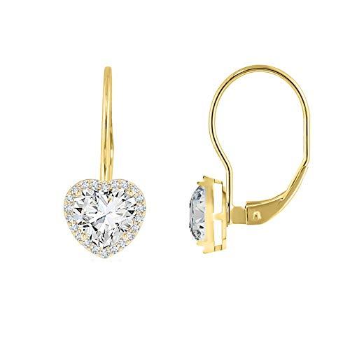 (Verona Jewelers 925 Sterling Silver CZ Heart Leverback Earrings for Women- CZ Leverback Earrings, Heart Earrings for Women (Gold))