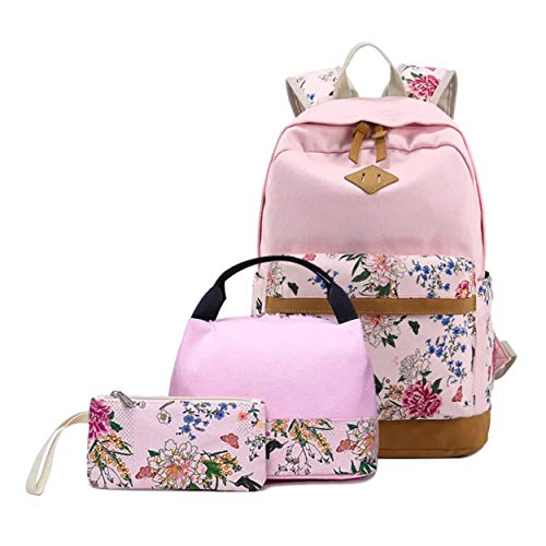 Queenie - Cotton Canvas School Backpack Casual Daypack Shoulder Bag for Teens Girls Boys (8891-3 Pink) by Queenie (Image #1)