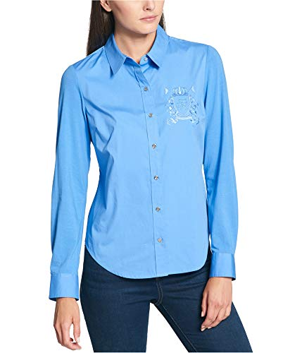Tommy Hilfiger Women's Cotton Logo-Embroidered Blouse (M, Chambray)