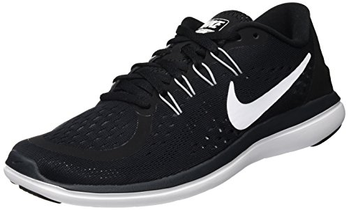 Nike Womens Flex 2017 Low Top Lace, Black/White/Anthracite/Wolf Grey, Size 8.0
