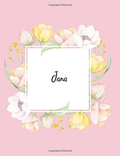 Jana: 110 Ruled Pages 55 Sheets 8.5x11 Inches Water Color Pink Blossom Design for Note / Journal / Composition with Lettering Name,Jana PDF
