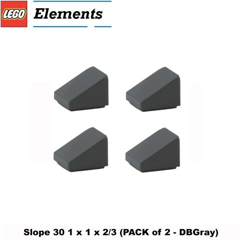 (Lego Parts: Slope 30° 1 x 1 x 2/3 (PACK of 4 - DBGray))