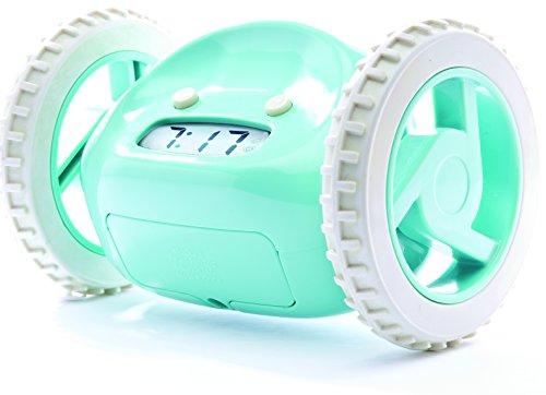 Clocky, The Original Runaway Alarm Clock on Wheels, Aqua ...
