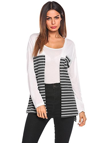 Wool Top & Striped Skirt - Pinspark Women Open Front Thin Knit Cardigan Casual Striped Long Sleeve Top