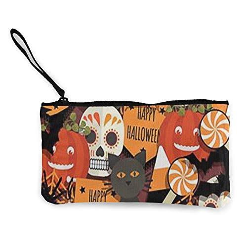 Coin Purse Happy Halloween Cute Travel Makeup Pencil Pen Case With Handle Cash Canvas Zipper Pouch 4.7