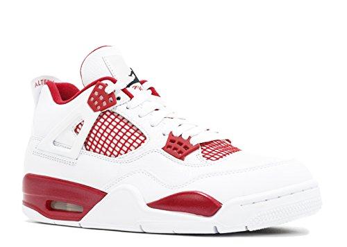 Jordan Men's Air 4 Retro, ALTERNATE-WHITE/BLACK-GYM RED, 14 M - Red 4 Jordan