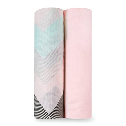 aden by aden + anais Silky Soft Swaddle Baby Blanket, 100% Cotton Bamboo Muslin, Large 44 X 44 inch, 2 Pack, Ziggy Pink