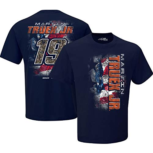 Joe Gibbs Racing Team Collection NASCAR Martin Truex Jr #19 TrueTimber Patriotic T-Shirt Navy (Medium)