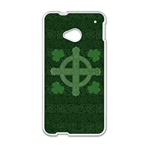 HTC One M7 Cell Phone Case White Clover Cross B5I5PY