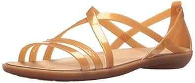 Crocs Women's Isabella Cut Strappy Sandal, Dark Gold/Gold, W5