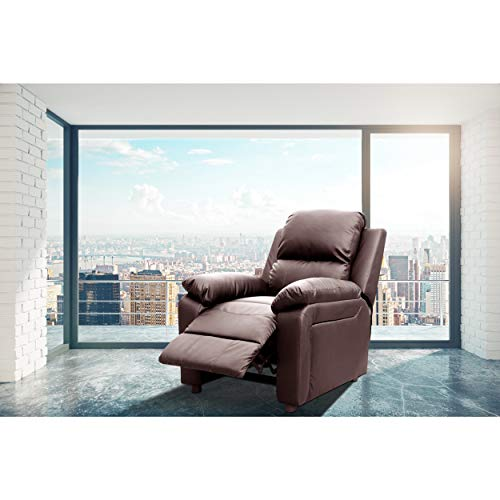 PDAE Bernice Faux Leather Modern Style Heated Vibrating Pushback Massage Recliner Burgundy