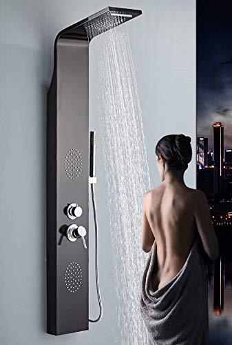 NERO cascata soffione Colonna doccia idromassaggio 4 funzioni getti idromassaggio e doccetta