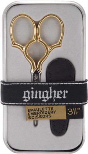 Gingher 1005279 Epaulette Embroidery Scissors 3.5-W/Leather Sheath