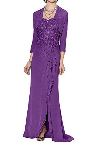Lila Brautmutterkleider mia Partykleider Braut Chiffon Spitze Langes mit Jaket Ballkleider Festlichkleider La Elegant Abendkleider Yg1q4qwS