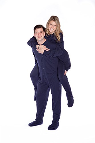 Big Feet PJs Navy Jersey Knit Adult Footed Pajamas NO Drop Seat - Jersey Knit Pajamas Footed