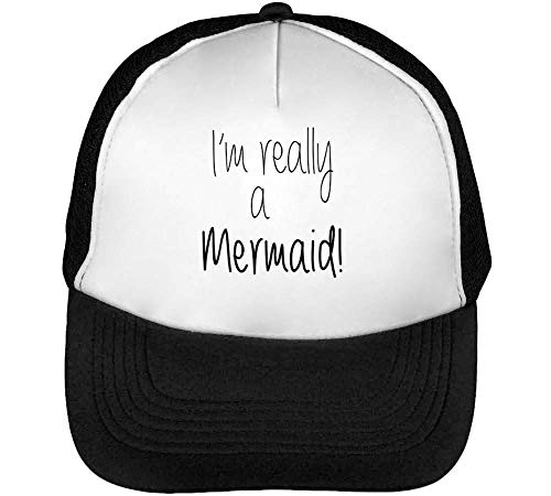Im Really A Mermaid Black Fonted Gorras Hombre Snapback Beisbol Negro Blanco