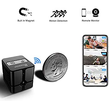 Spy Camera WiFi, Ehomful Mini Wireless Hidden Camera Real 1080P, Auto Night Vision Monochrome Covert,Built-in Magnet,No Lags & No Frozen Streaming,Works ...