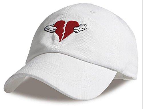 Dad Heart - FGSS Mens Heart Break Embroidery Adjustable Cotton Strapback Dad Hat Baseball Cap