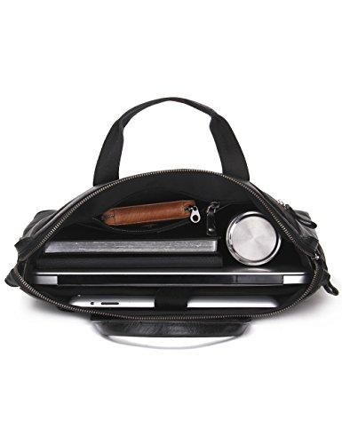 Pour À Noir Véritable Cuir Main Contacts Fourre Sac tout En Ordinateur Portable 65wqXfP84