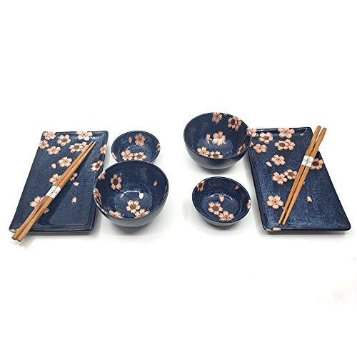 The Elixir Deco 8 Piece Japanese Blossom Sushi Dinnerware Set for Two, Sushi and Bowl Plate - Dining Deco Set