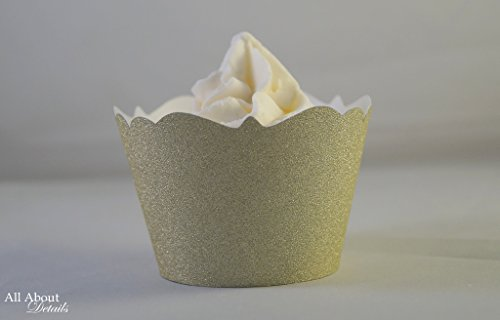 All About Details Gold Glitter Cupcake Wrappers, Set of 12