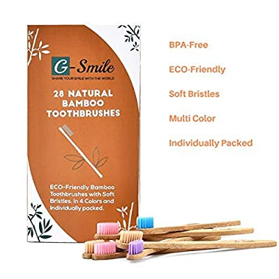 28 Eco-Friendly Bamboo Toothbrushes With BPA Free Nylon Bristles, In 4 Colors and Individually Packaged by Recyclable Paper Bag