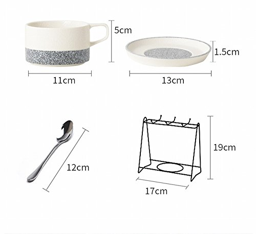 DHG American Coffee Cup Set Ceramic Household Creative Coffee Cup Saucer Continental Cup Spoon Holder,A by DHG (Image #1)