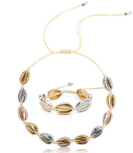 SCIONE 14K Gold Plated Shell Necklace Choker Adjustable Beach Necklace Fashion Shell Anklet Bracelet Wakiki Hawaii Style Gypsy Jewelry for Women Girls