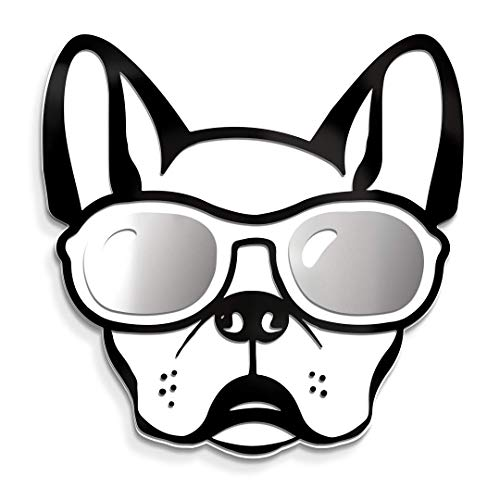 4ArtWorks - Cool Dog 3D French Bulldog with Sunglasses Wall Art - Silver Mirror Finish Glasses - For Frenchie, Dog & Street Pop Art Lovers - Made in the USA ()