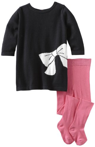 Isaac Mizrahi Baby Girls' Sweater Knit Ribbon And Bow Dress With Tight, Black/Pink, 12 Months