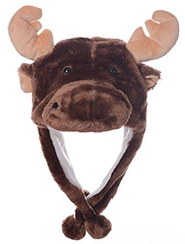 Animal Head Super Soft Plush Childrens Hat - Dark Moose ()