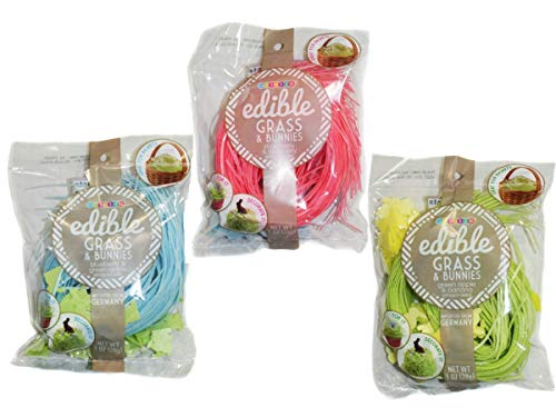 Edible Easter Grass Green Apple, Pink Strawberry, Blueberry Flavors (3 -