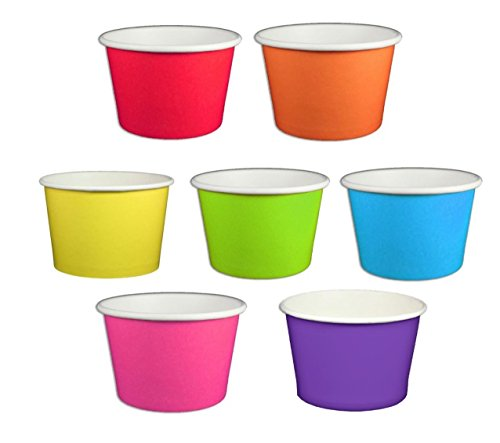 Beach Party Polka Dot Ice Cream Cups (4 ounce, Solid Rainbow Mix) -