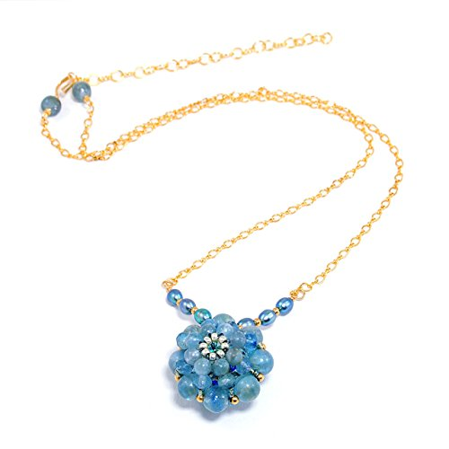 Reversible Necklace in Kyanite, Cultured Freshwater Pearls, Crystals, and 14K Gold - Crystal 14k Reversible Gold