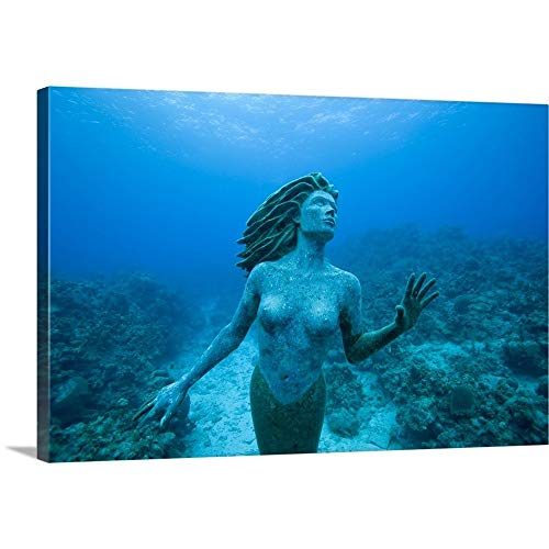 (Cayman Islands, Grand Cayman Island, Mermaid Sculpture in Shallow Coral Reef Canvas Wall Art Pr.)
