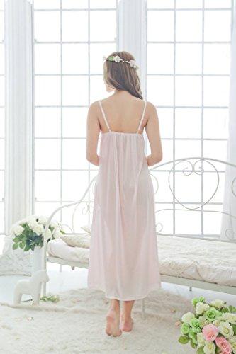 V neck Sleeveless Lace Nightgown Sleepwear s Nightdress Long YICHUN Pink Homewear Women 1qR0wT8