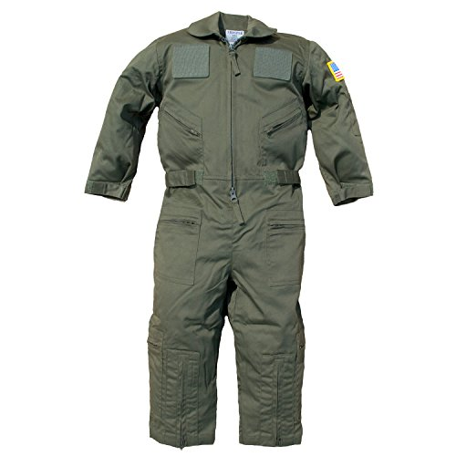 Trendy Apparel Shop Kid's US Pilot Flight Suit Uniform with Hook and Loop Patch - Olive - (Coast Guard Halloween Costumes Kids)