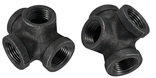 1/2 Inch Side Outlet Tee, 4 Way Fitting by Pipe Décor, Industrial Steel Grey, For Building Tables, Chairs, Shelving and Other Custom Furniture, Fits Standard Half Inch Pipes and Nipples, 2 Pack