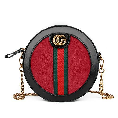 Ophlid Vintage Designer Crossbody Bag for Women,Fashion Rond Shoulder Bag with Chain (red)