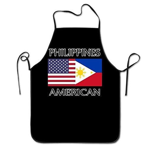 amiuhoun Philippines American Flag Unisex Kitchen Bib Apron Barbershop Tea Shop With Adjustable Neck Chef's Apron ()
