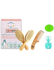 Baby Wooden Hair Brush Comb Set   Ultra Soft Natural Goat Hair Brush for Cradle Cap   Wooden Bristles Brush for Massage   Wooden Comb   Grooming Kit - Silicone Brush Bath for Boy & Girl   Ideal for Newborn Babies Infant Kids   Baby Shower & Registry