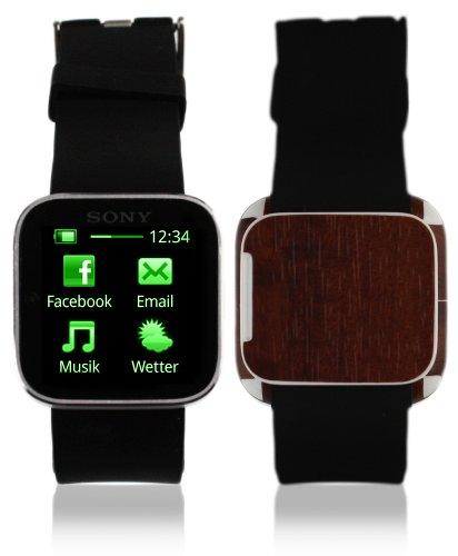 Skinomi Watch Skin Dark Wood Cover Clear Screen Protector for Sony SmartWatch